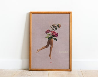 BLOOM Feminine Floral Collage Print, Floral Affirmation Wall Decor, Feminine Pink Art Printable