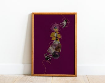 Filipina Muse Collage Art Print, Minimalist Surreal Feminist Room Decor, Feminist Art Print