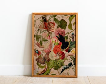 Growth In Its Own Time, Vintage Floral Collage Art, Feminine Collage Room Decor, Floral Explosion Wall Art
