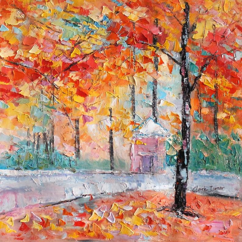 Paysage Peinture Original Art Automne Arbre Tableau Peinture à Etsy