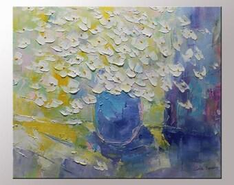 Spring Flowers Painting - Original Abstract Flowers Oil Painting - Spring Florals-20x24 Abstract Painting -  Flowers- Clark Turner