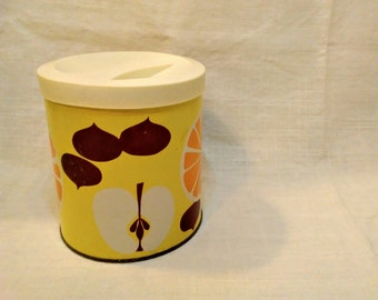 Vintage Yellow Storage Container - Fluffo Shortening Tin Procter & Gamble - Retro Mod Kitchen Home Decor - 1950s 1960s