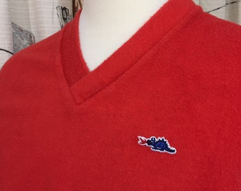 3c356d45ac Vintage 80s Red Terry Cloth Shorts Shirt Outfit Men s Sears Dragon L 1980s  vtg