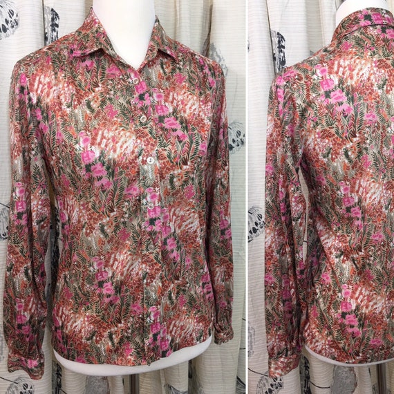 Vtg 70s Mod Floral Print Sheer Poly Top Blouse Short Sleeves A Few Buttons Up Front Made In Singapore M