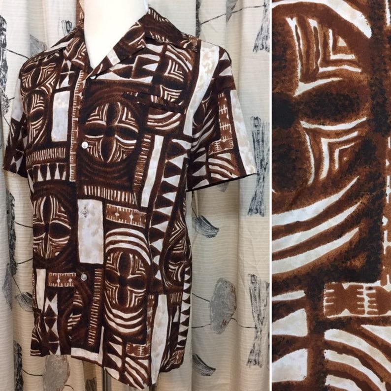 d5027a662 Vintage 70s Hawaiian Shirt Men's Brown Tapa Aloha Print   Etsy