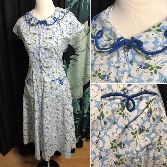 Vintage 40s House Dress Blue Floral Zip Zipper Fro