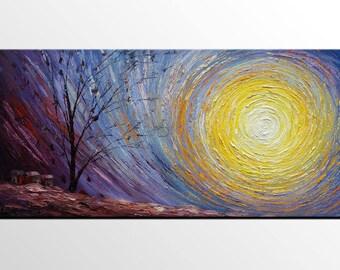 Abstract Landscape Art, Contemporary Art, Heavy Texture Painting, Canvas Art, Modern Art,  Original Art, Bedroom Wall Art, Canvas Painting