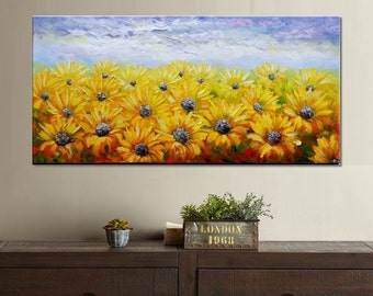 Oil Painting, Abstract Painting, Canvas Art, Wall Art, Abstract Art, Original Painting, Large Art, Sunflower Painting, Landscape Painting