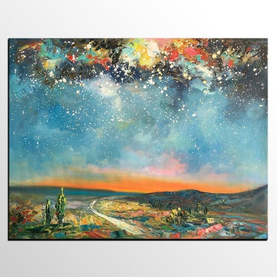 Abstract Landscape Painting Starry Night Sky Painting Living Etsy