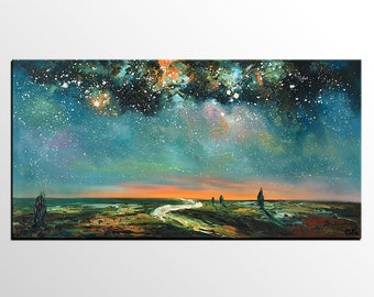 Abstract Landscape Art, Starry Night Sky Painting, Original Painting, Canvas Oil Painting, Canvas Painting, Impasto Art, Bedroom Wall Art