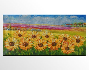 Oil Painting, Sunflower Landscape Painting, Canvas Art, Large Art Painting, Abstract Painting, Abstract Art, Oil Painting, Large Wall Art