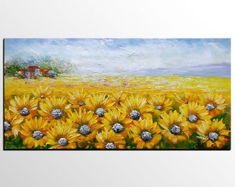 Oil Painting, Original Art, Abstract Art, Abstract Painting, Large Art, Canvas Art, Wall Art, Canvas Painting, Sunflower, Landscape Painting