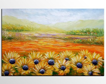 Landscape Painting, Sunflower Painting, Abstract Painting, Canvas Art, Abstract Art, Large Art, Landscape Art, Wall Art, Original Painting