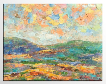 Custom Extra Large Painting, Autumn Mountain Landscape Oil Painting, Huge Oil Painting, Oversize Canvas Painting, Artwork for Dining Room