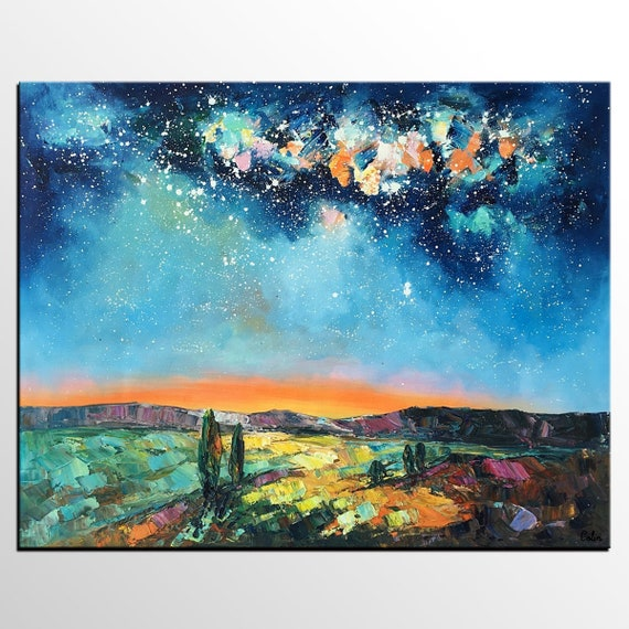 Oil Painting Landscape Starry Night Sky Painting Large Art