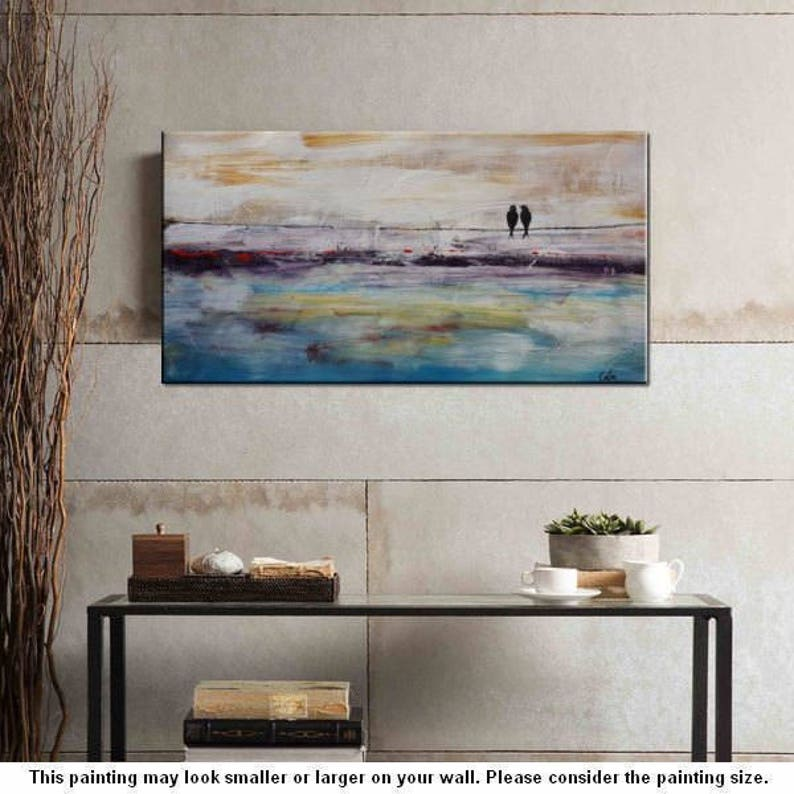 Large Wall Painting Large Oil Painting Love Birds Painting Canvas Art Framed Art Abstract Art Bedroom Wall Art Large Oil Painting C