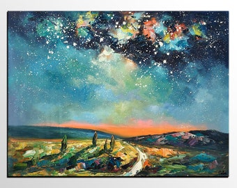 Oil Painting,  Cypress under Starry Night Sky Painting, Bedroom Wall Art, Canvas Painting, Large Painting, Abstract Art, Abstract Painting