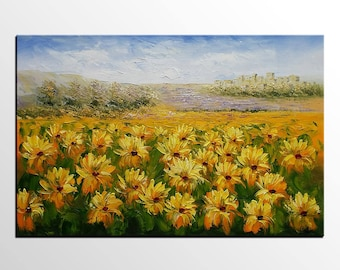 Sunflower Painting, Large Oil Painting, Landscape Painting, Canvas Art, Large Art, Abstract Art, Large Art, Wall Art, Abstract Painting