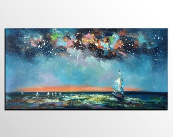 Oil Painting Landscape, Sail Boat Under Starry Night Sky Painting, Original Painting, Large Abstract Art, Canvas Wall Art, Heavy Texture Art