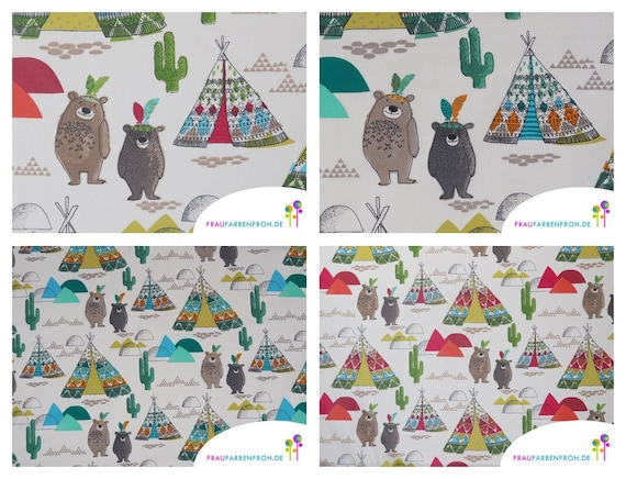 Per Metre Apricot Canvas Fabric With Printed Trees /& Owls