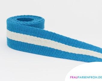 Webbing 40 mm striped cotton as a metre, stripe, cotton webbing 40 mm