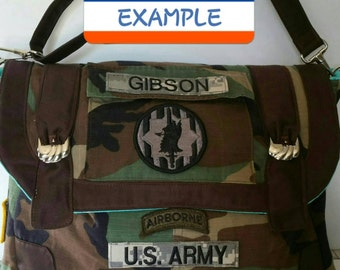 MESSENGER BAG- Customized From YOUR Military Camo Shirt- All Branches of Service!