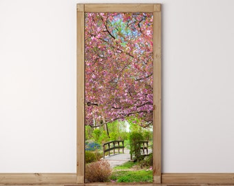 Door Mural Japanese Garden Sakura   Self Adhesive Fabric Door Wrap Wall  Sticker