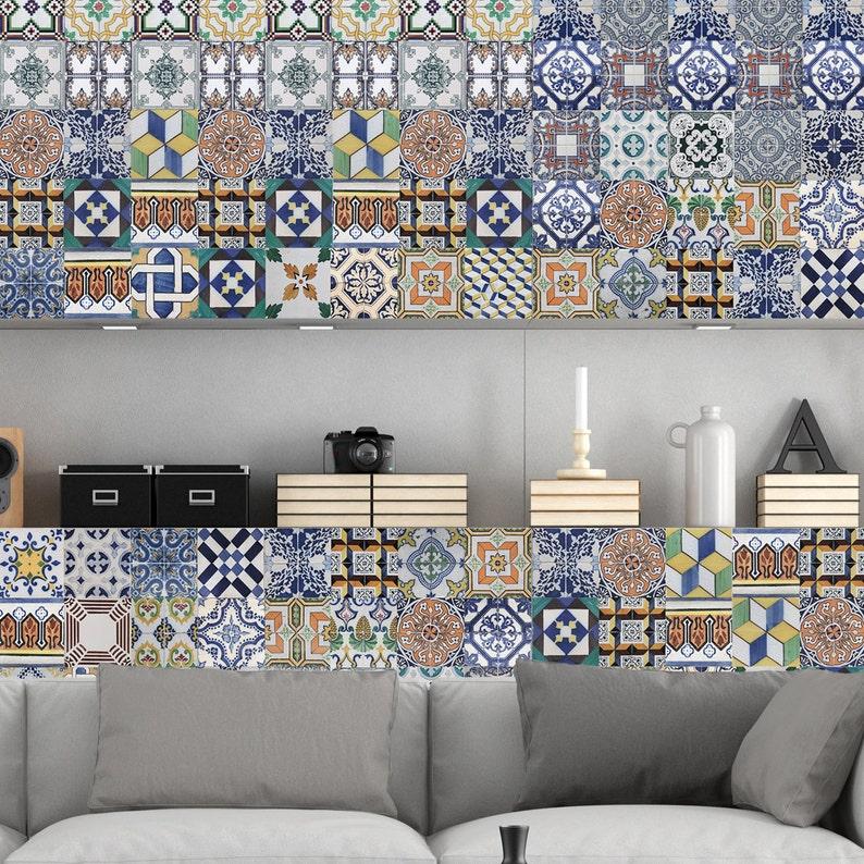 Portugiesische Fliesen Aufkleber Amadora - Packung mit 36 Steinen - Kachel  Aufkleber Kunst für Wände Küche Backsplash Bad