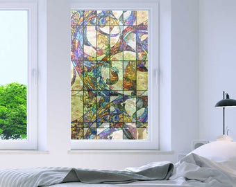 """Non-Adhesive Decorative Privacy Window Film Static Cling Meridian 24"""" x 40"""""""
