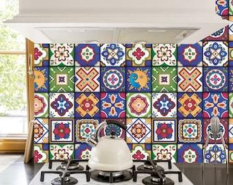 Hochwertig Mexikanische Fliesen Sticker   Set Mit 16 Fliesen   Fliesen Aufkleber Kunst  Für Wände Küche Backsplash Bad