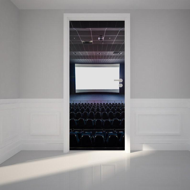 80 x 200cm Door Wall Sticker Modern Blank Theater Peel /& Stick Repositionable Fabric Mural 31w x 79h