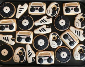 80s 90s HIP HOP Inspired Vanilla Sugar Cookies 12 1 Dozen In BlackWhite RETRO Birthday Party Disco Boom Box Radio Vinyl Disc Old School
