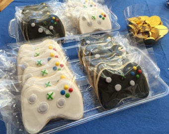 12 xbox party remote control cookies xbox game or ps4 inspired -VIDEO GAME themed bday party video xbox CONTROLLER white or black -coo