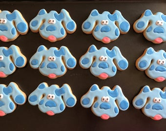 12 blues clues spotted puppy dog inspired decorated cookies  - kids birthday party - party favor - boy girl  - baby shower milestone paw pri