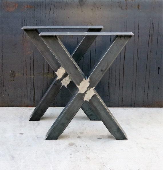 pieds de table en m tal de forme industrielle x 3 x 3 etsy. Black Bedroom Furniture Sets. Home Design Ideas
