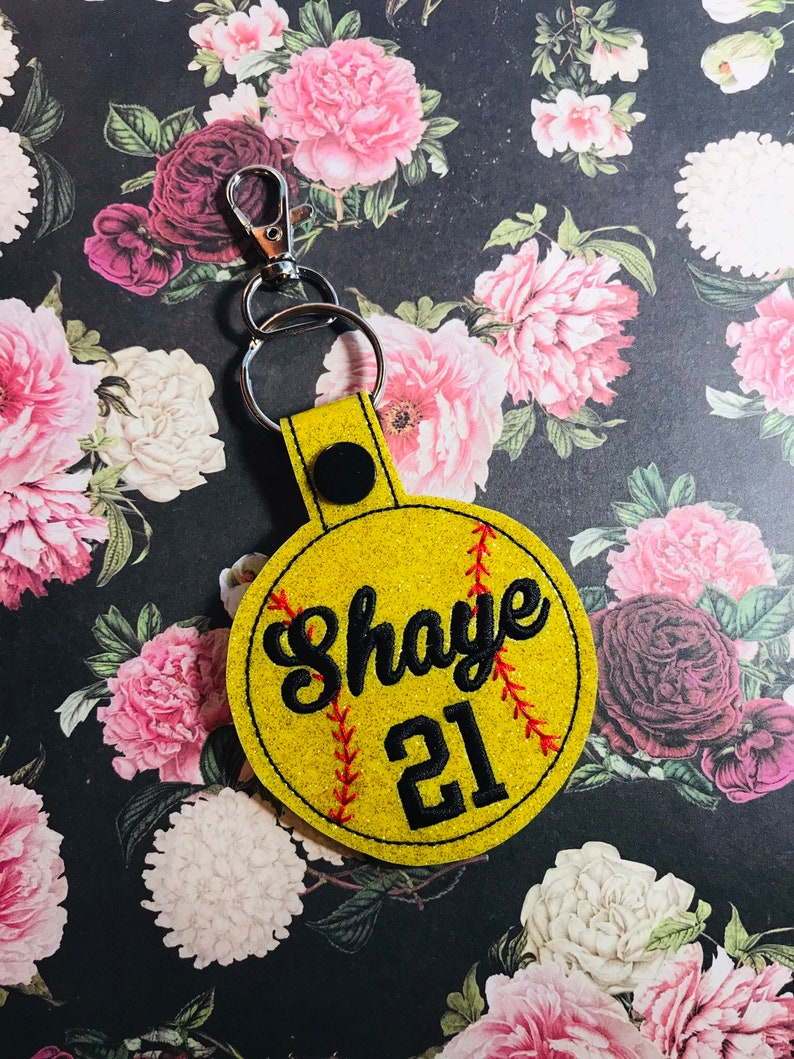 Cursive Font Name /& Number Softball Keychain SoftBall Bag Tag