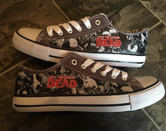 616ed6ea1c92 Grey canvas low tops custom made featuring licensed The walking Dead fabric  UK sizes 4