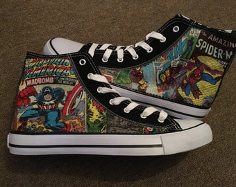 Men's women's unisex custom made marvel comic inspired hi tops