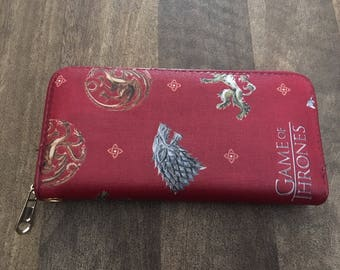 Red game of thrones inspired purse