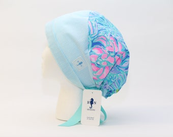 Women's European Style Surgical Scrub Cap,  Lilly Pulitzer fabric 'In Full Bloom' Made in the USA.