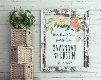 Wedding Sign | Wedding | Welcome | Sign | Ceremony | Board | Peony | Program | Schedule | Print | Poster | Welcome Sign | Apricot | Blush