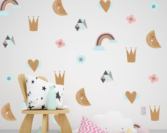 Removable Wallpaper Decal Princess Rainbow Unicorn Nursery Wall Decor Peel And Stick Baby Girl Floral