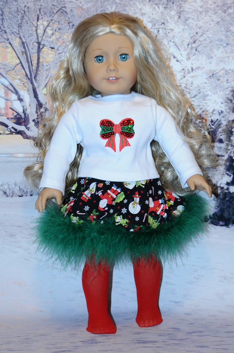 3 Piece Green Boa Christmas Outfit image 0