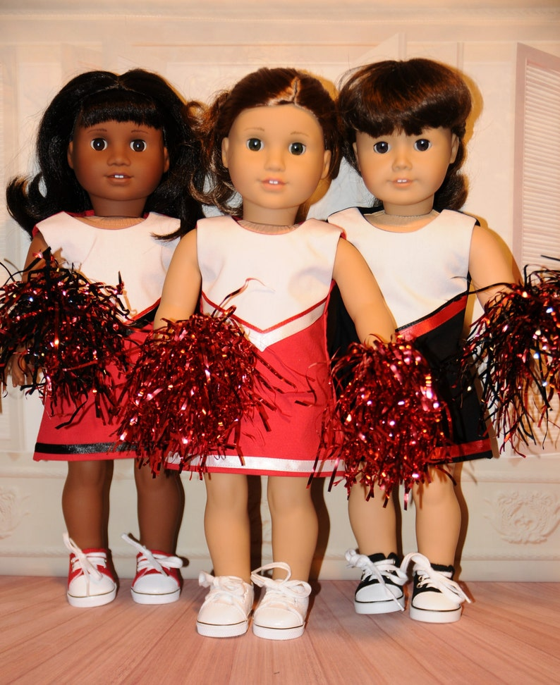 Red Cheerleader Outfit with Pompoms image 0