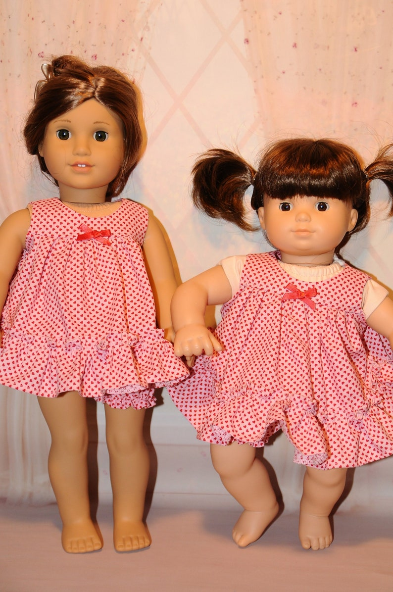 Pink and Red Mini Heart Baby Doll Pajamas image 0