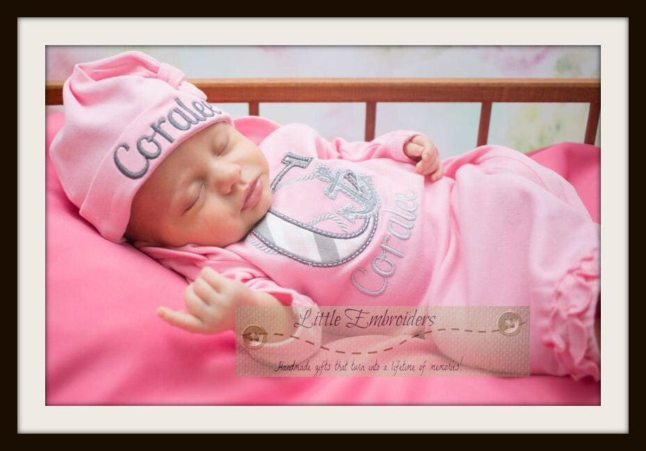 Baby Girl Coming Home Outfit - Sweet Anchor-pink and grey nautical ...