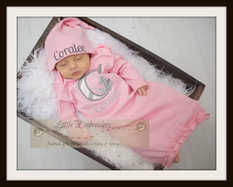 Take home outfit personalized gown Sweet Anchor-pink and grey nautical baby girl Set new baby