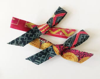 Fun festive colorful fabric bows