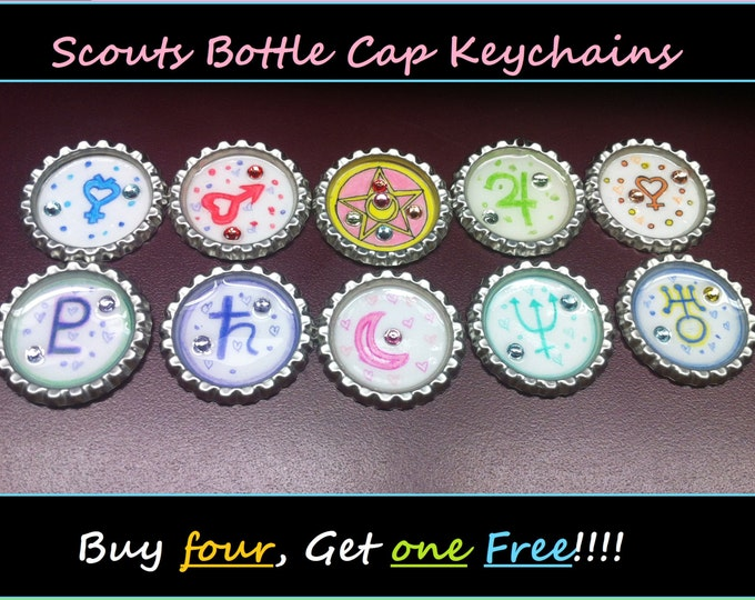 Featured listing image: Scout Bottle Cap Keychains