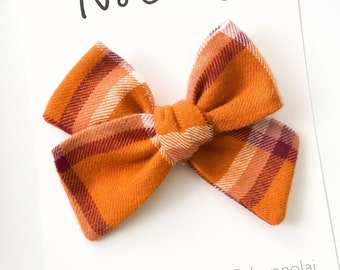Orange Flannel Bow Toddler Hair Clip Fall Flannel Orange Bow Set Orange Plaid Flannel Bow,Nylon Headband Baby Bows Dark Grey Flannel Bow